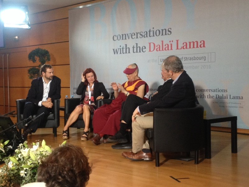 Project Coordinator Gaël Chételat and tenured research scientist Antoine Lutz speaking with His Holiness the Dalai Lama at the Contemporary Sciences and Contemplative Science discussion at the University of Strasbourg in September 2016.